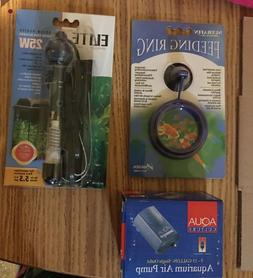 Fish Tank Accesories 3 Piece Lot - Heater, Air Pump and Feed