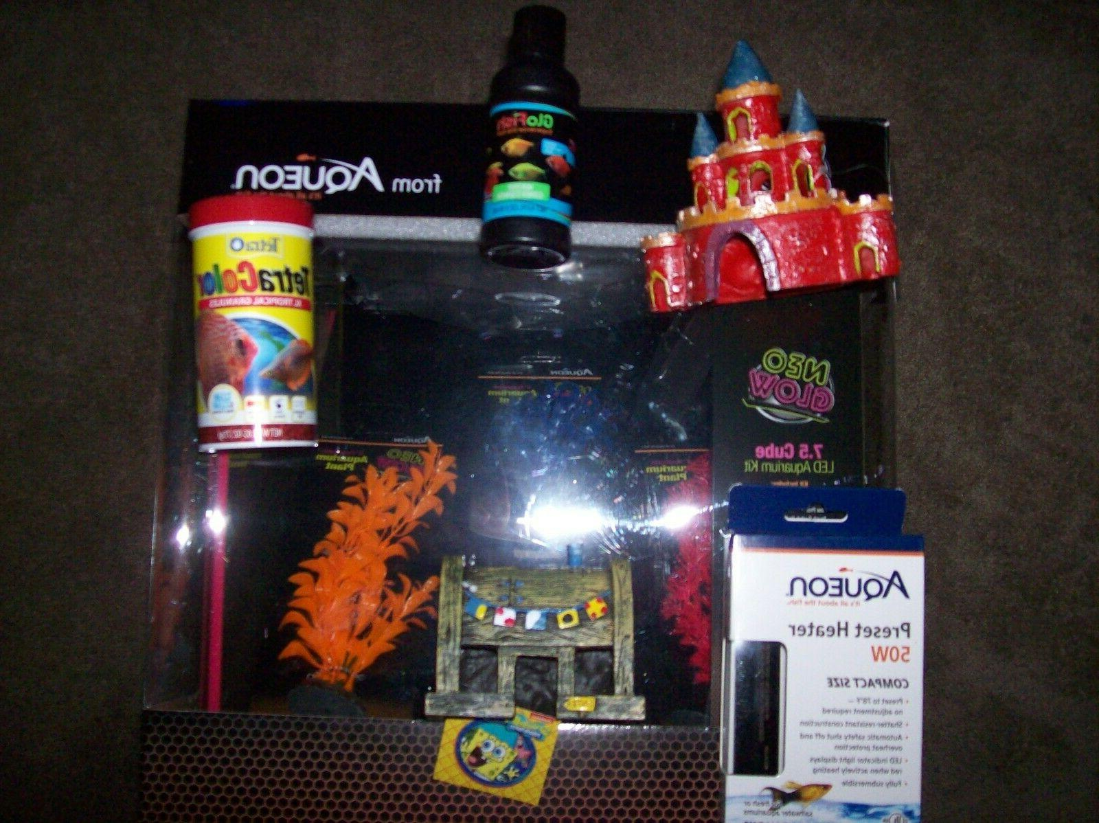Aqueon Neoglow Aquarium Kit Cube 7.5 gal 50 watt HEATER spon