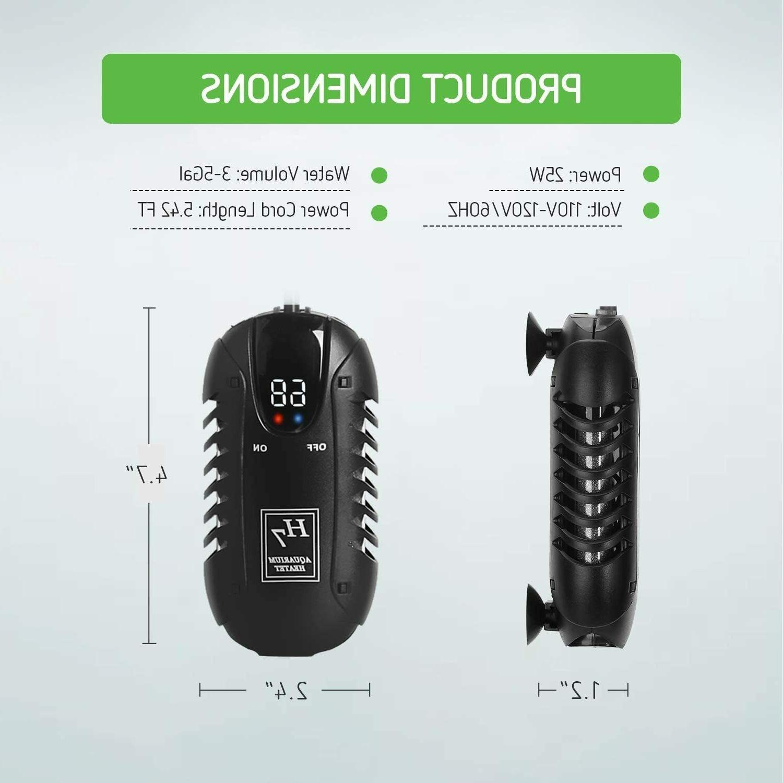 VIVOSUN Submersible Aquarium 25W Mini Heaters Intelligent