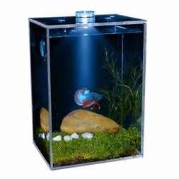 Small Transparent Clear Fish Square LED Fish Tank Aquarium H
